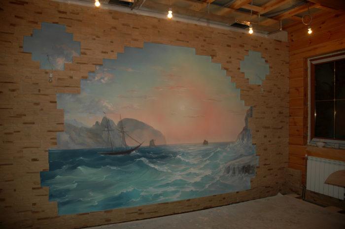 Картины (исторически сложилось) хорошо смотрятся на деревянных стенах. Роспись на стене- та же картина.. Роспись бассейнов- новое течение в отделки интерьеров.
