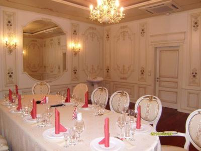 Красивый орнамент на стену подобрать не просто. Рисунки на стене, орнаменты должны совпадать со смысловой нагрузкой, для которого предназначено помещение. Банкетный зал.