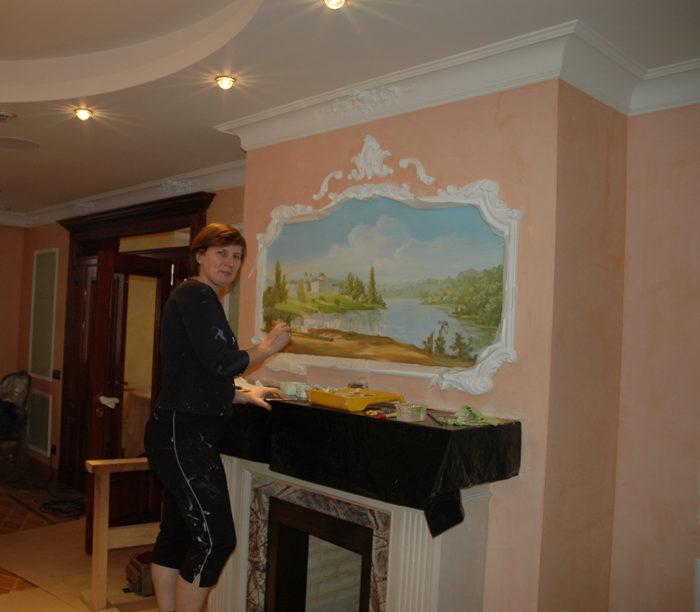 Художественные стены украшают дом и делают его значительно дороже.