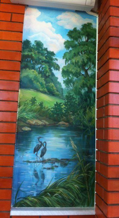 Роспись домов. Русский пейзаж. Данная картина создана специально для этого интерьера.