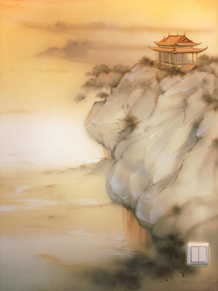 Роспись стен в квартире, роспись в восточном стиле (фрагмент). Акварельная мягкость касания достигается за счет кисти-. Аэрографа