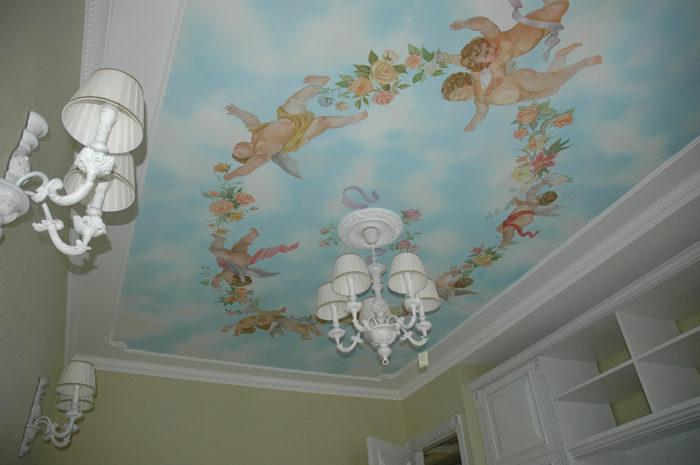 Роспись потолков так же и роспись стен в интерьере не должны утяжелять пространство, особенно в детской.