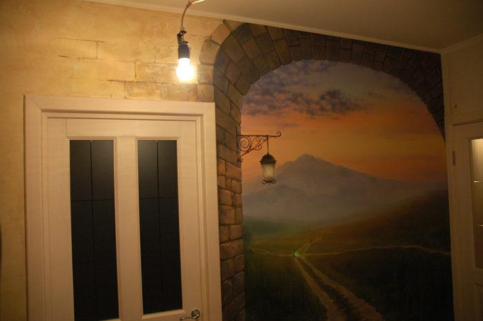 Стены в квартире могут быть украшены художественной росписью. Художественная роспись добавляет глубины обычным стенам