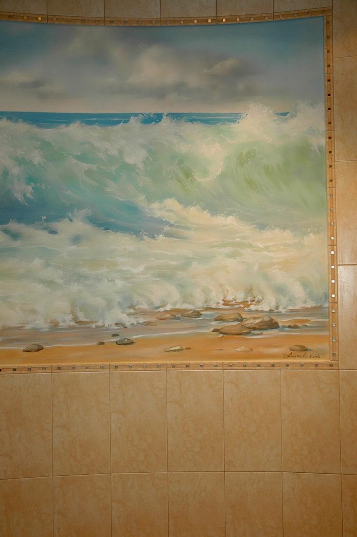 Рисунки на стенах не только кистью, но и аэрографом. Аэрография придает мазку мягкость и расплывчатость
