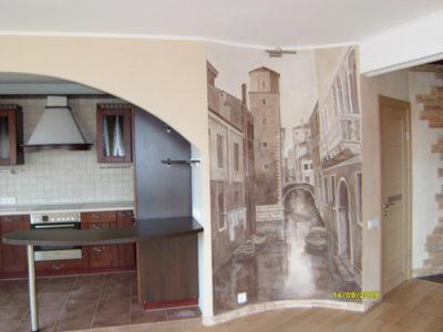 Интерьер стен данной квартиры очень сдержан по цвету. В таком интерьере роспись красками должна быть монохромной