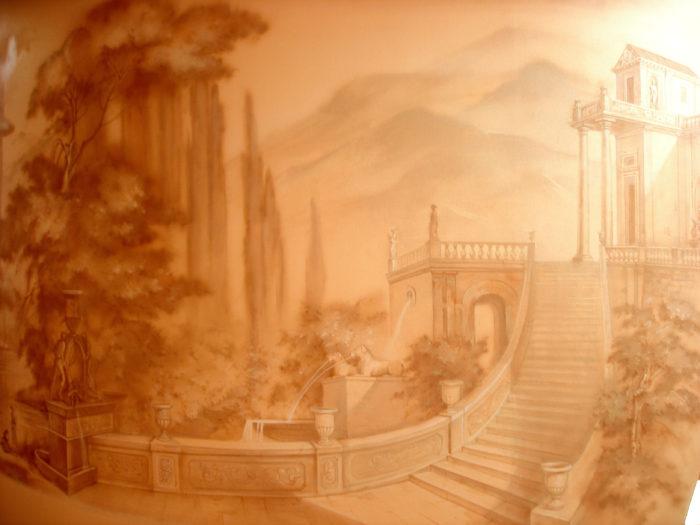 Роспись стен в монохроме беспроигрышный вариант и подходит к любым стенам. Монохромная роспись может быть любых оттенков.
