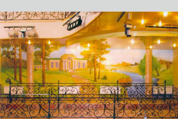 Роспись стен в интерьере ресторана на тему: « Русская усадьба».