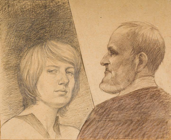 « Два поколения» смешанная графическая техника. Портрет с натуры.