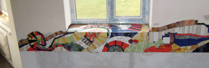 Мозаика на фартук из резаной плитки.