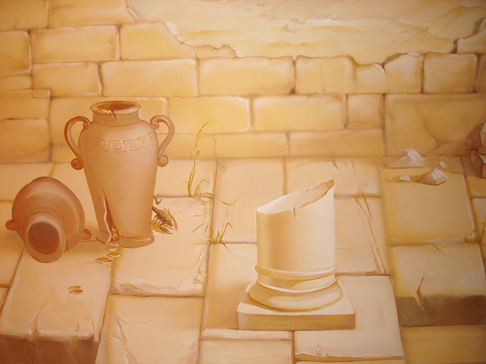 Аэрография так же применима на стенах. Особенно интересно аэрография на стенах сочетается с кистью. Передний план – это роспись стен кистью, задний – аэрография.