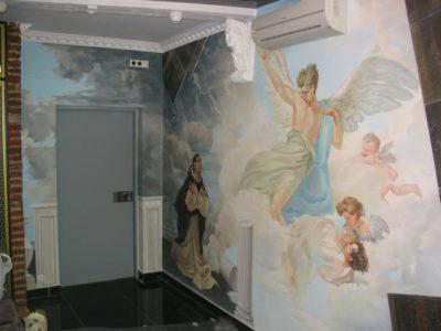 Роспись стен в интерьере кабинета может напоминать эпоху возрождения, но выглядеть современно