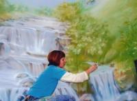 за работой по росписи бассейна в Жаворонках