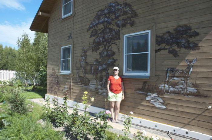 Роспись деревянного дома.