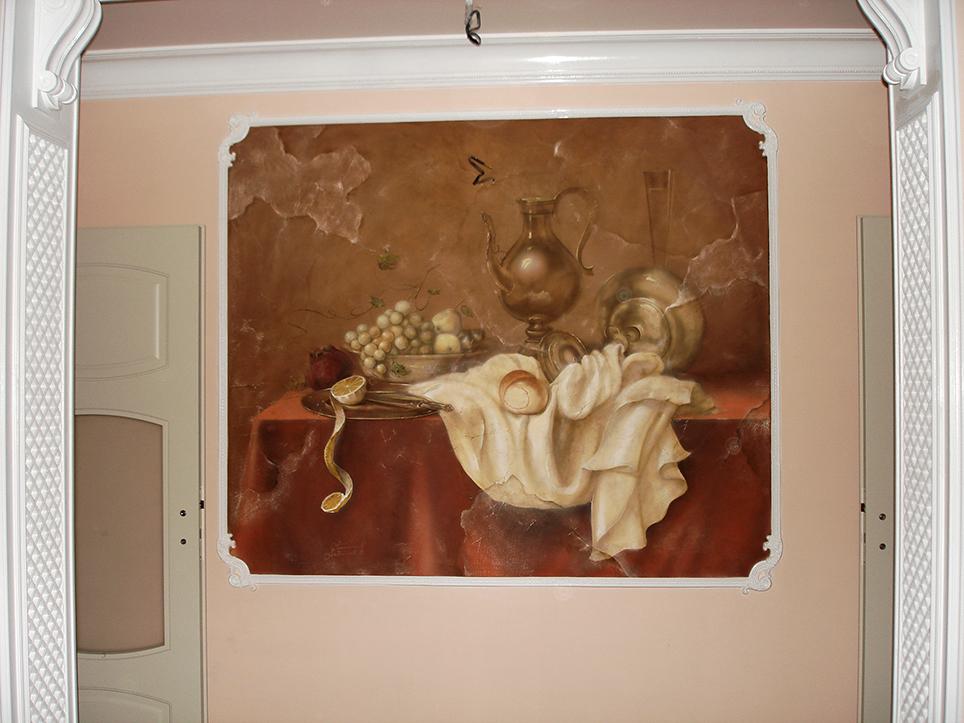 """Роспись стен на кухне в технике аэрография,кисть. """"Голландский натюрморт"""""""