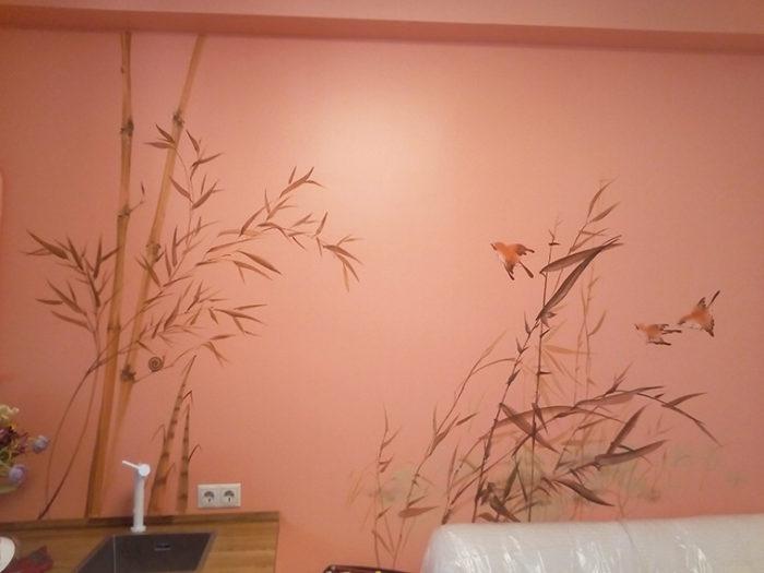 Роспись стены в китайском стиле или японском