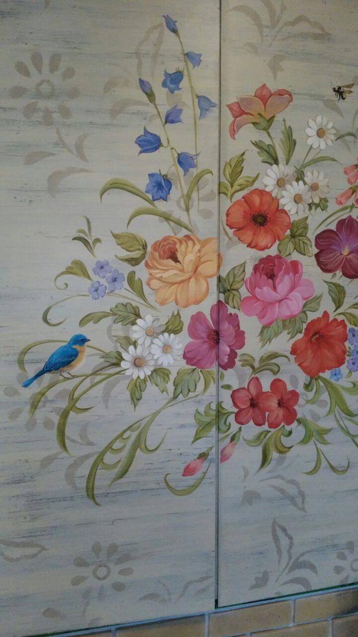 роспись ставни, цветы