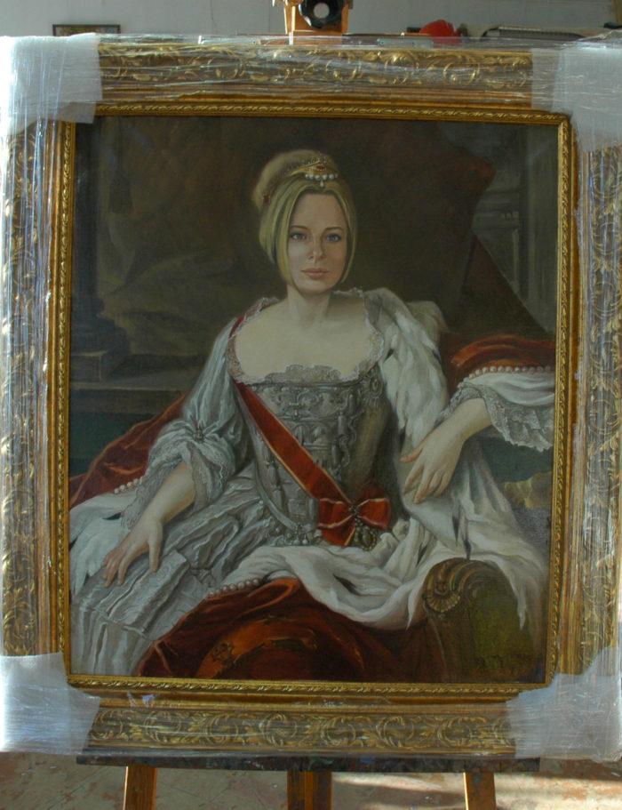 портрет маслом на мольберте