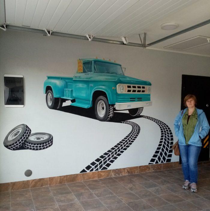 Аэрография на стенах. Аэрография гаража
